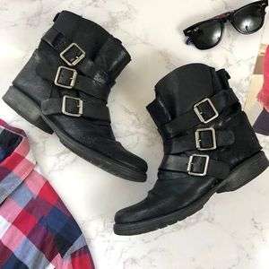 Steve Madden Black Leather Moto Boots, Size 8
